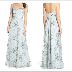 Drew Floral Embroidered Tulle Evening Dress
